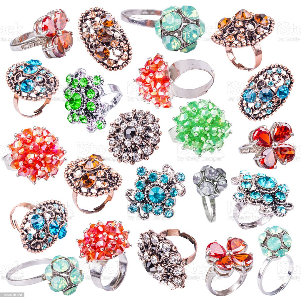 Rings with gems stock photo
