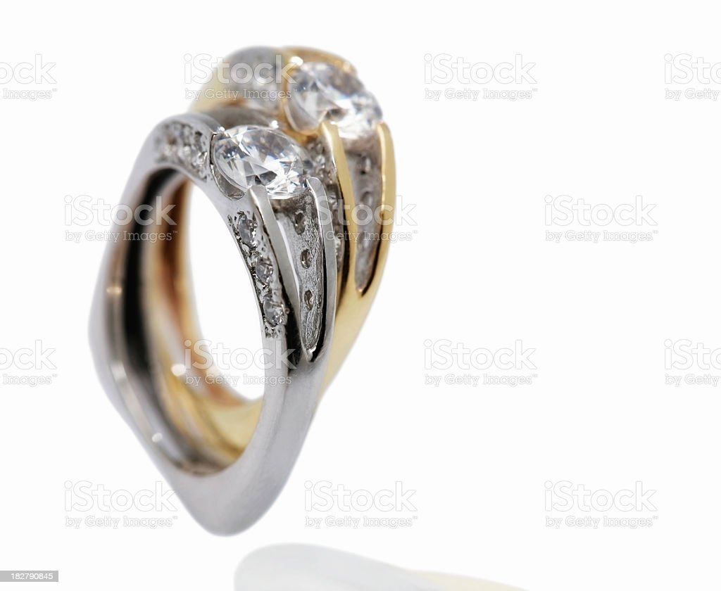 Rings with zircons royalty-free stock photo