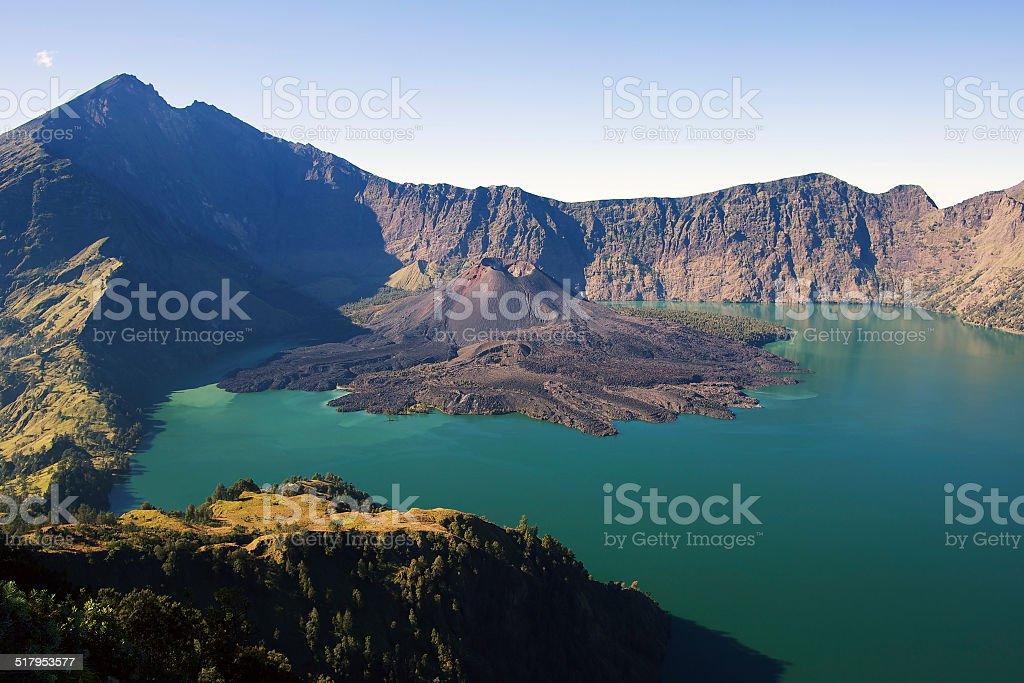 Rinjani mountain panorama stock photo