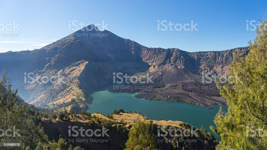 Rinjani volcano mountain and Anak lake landscape from Senaru crater stock photo
