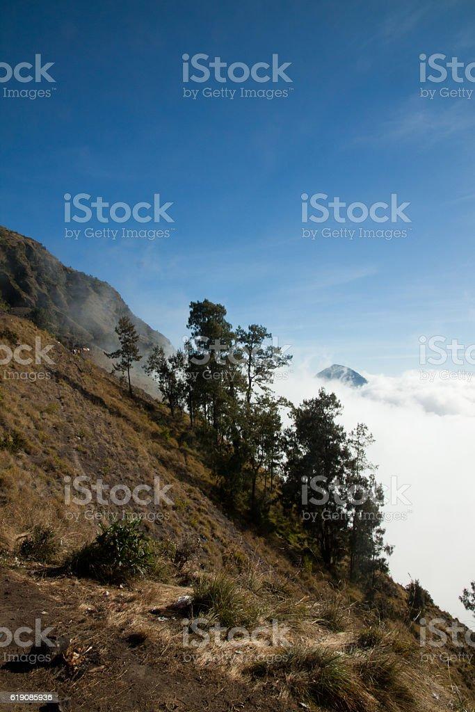 Rinjani volcano mountain top landscape, Lombok Indonesia stock photo