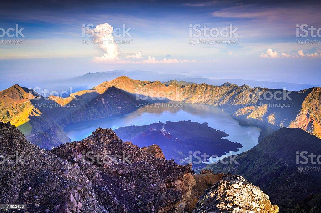 Rinjani's summit at dawn. stock photo