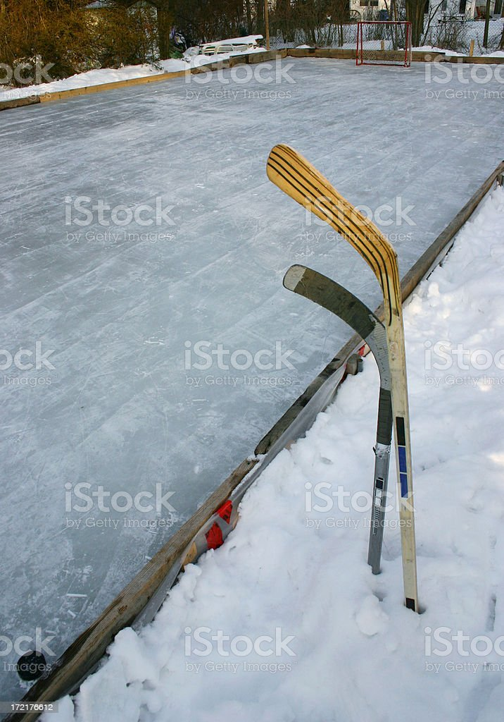 rink and sticks stock photo