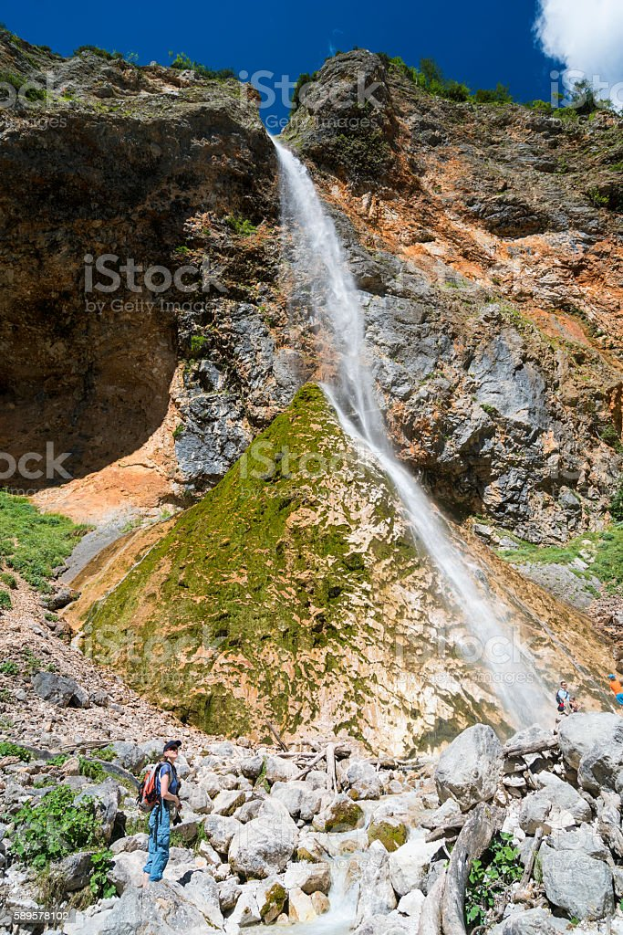 Rinka Waterfall at the end of Logar Valley,  Slovenia stock photo
