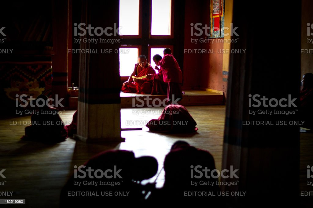 Rinpung Dzong Fortress Monastery school for monks, Bhutan stock photo