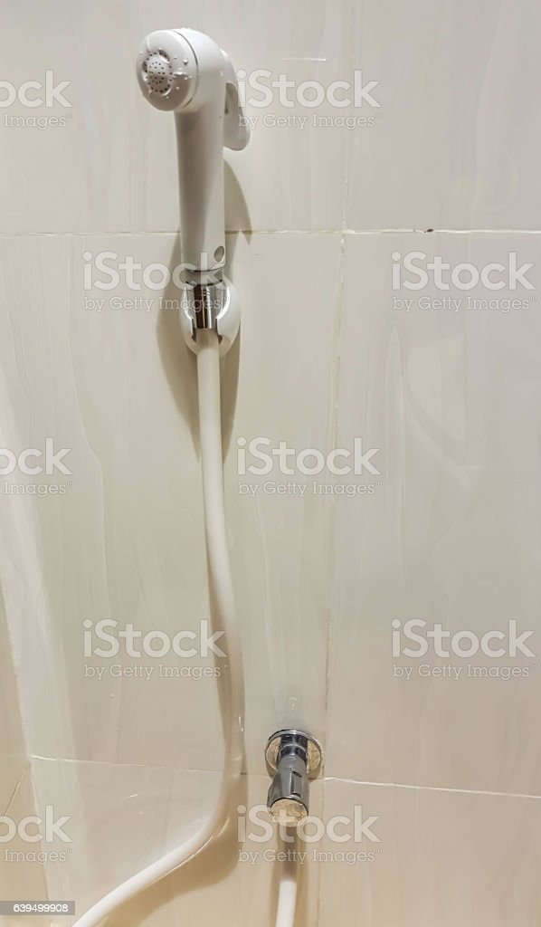 Rinse spray in the bathroom stock photo