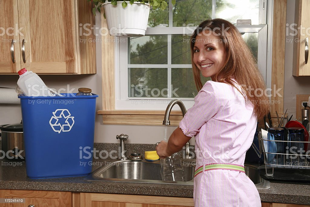 Rinsing Recyclables stock photo