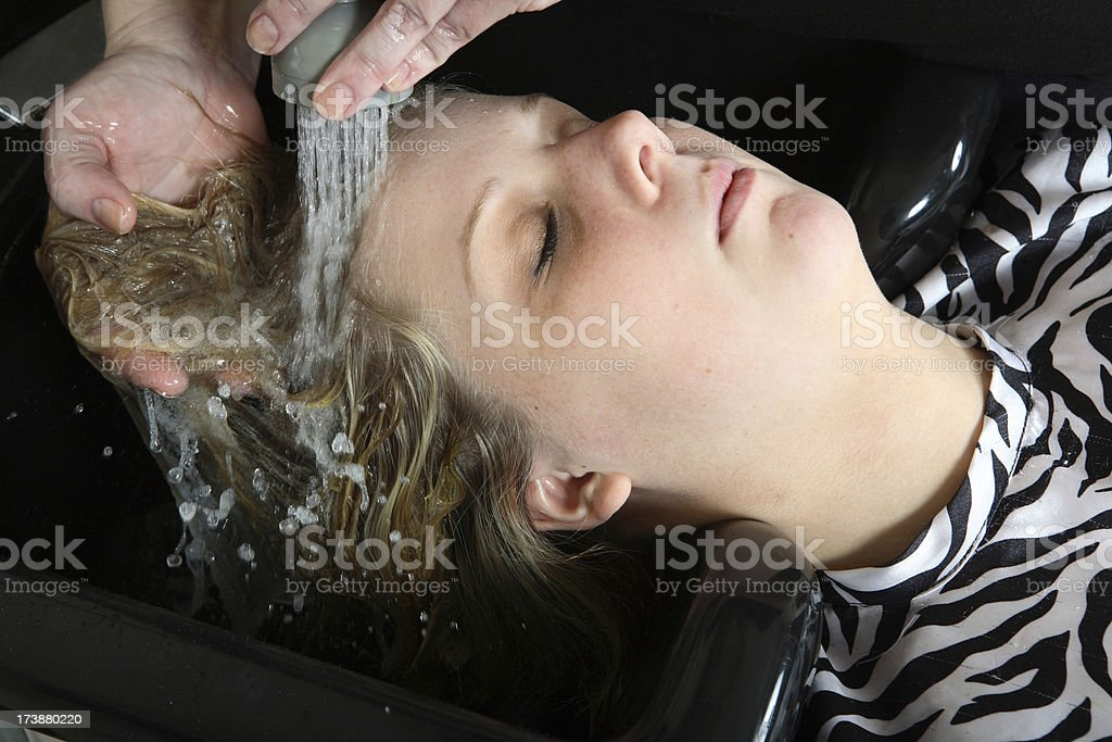 Rinsing the dye. stock photo