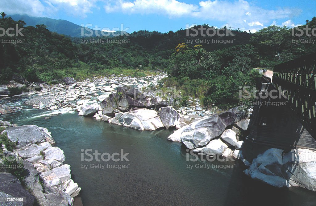 Rio Cangrejal and bridge Pico Bonito National Park Atlantida Honduras stock photo