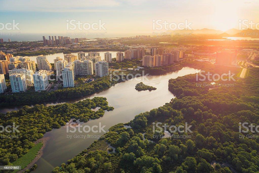 Rio de Janeiro, Barra da Tijuca aerial view stock photo