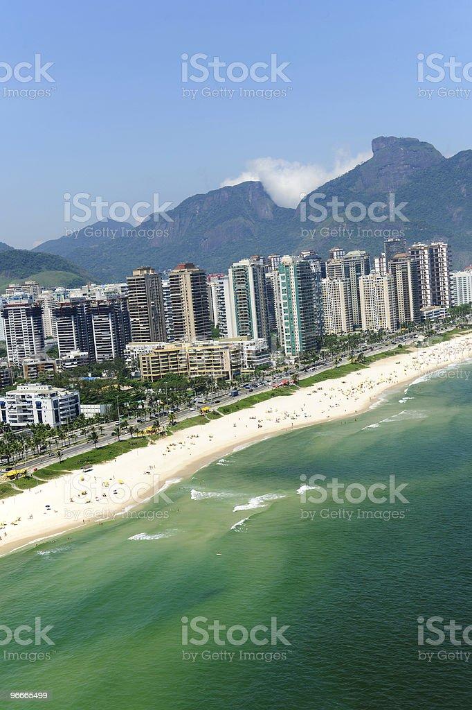 Rio de Janeiro, Barra da Tijuca beach and skyscrapers stock photo