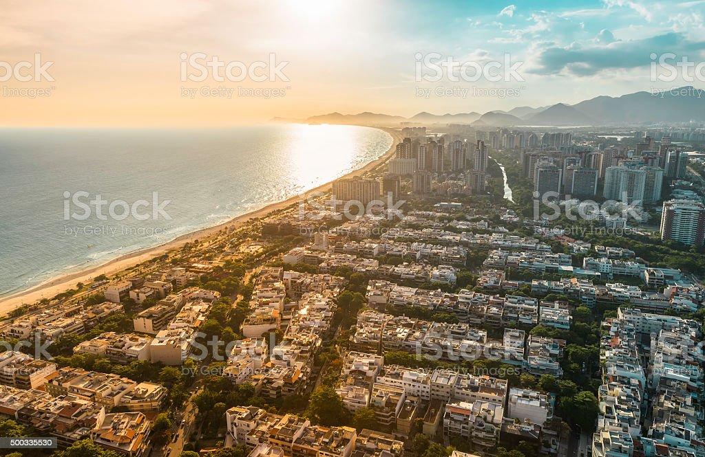 Rio de Janeiro, Barra da Tijuca sunset light aerial view stock photo