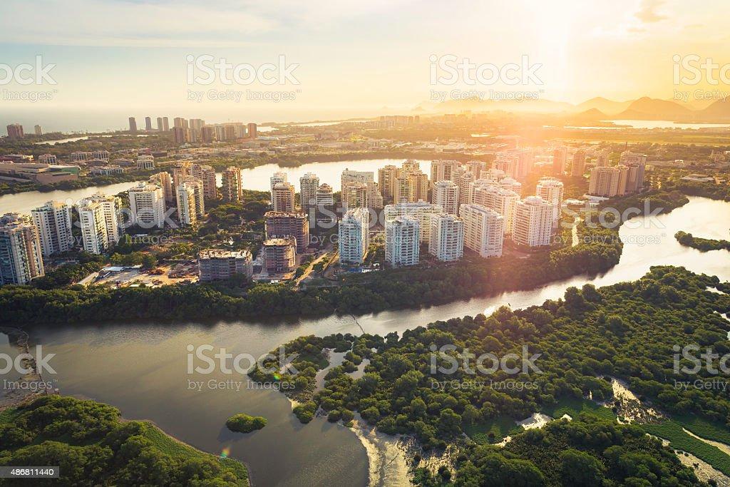 Rio de Janeiro, Barra da Tijuca with sunset light aerial stock photo