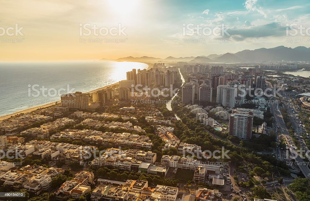 Rio de Janeiro, Barra da Tijuca with sunset light stock photo