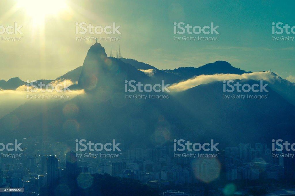 Rio de Janeiro Brazil Golden Mountain Sunset Cityscape royalty-free stock photo
