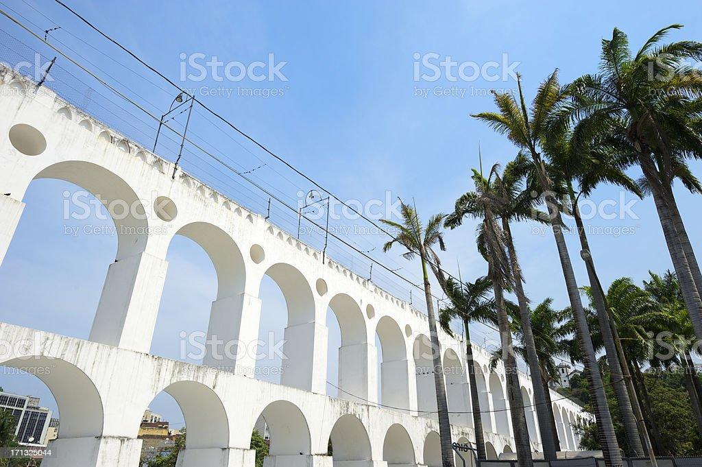 Rio de Janeiro Brazil Lapa Arches with Palm Trees royalty-free stock photo