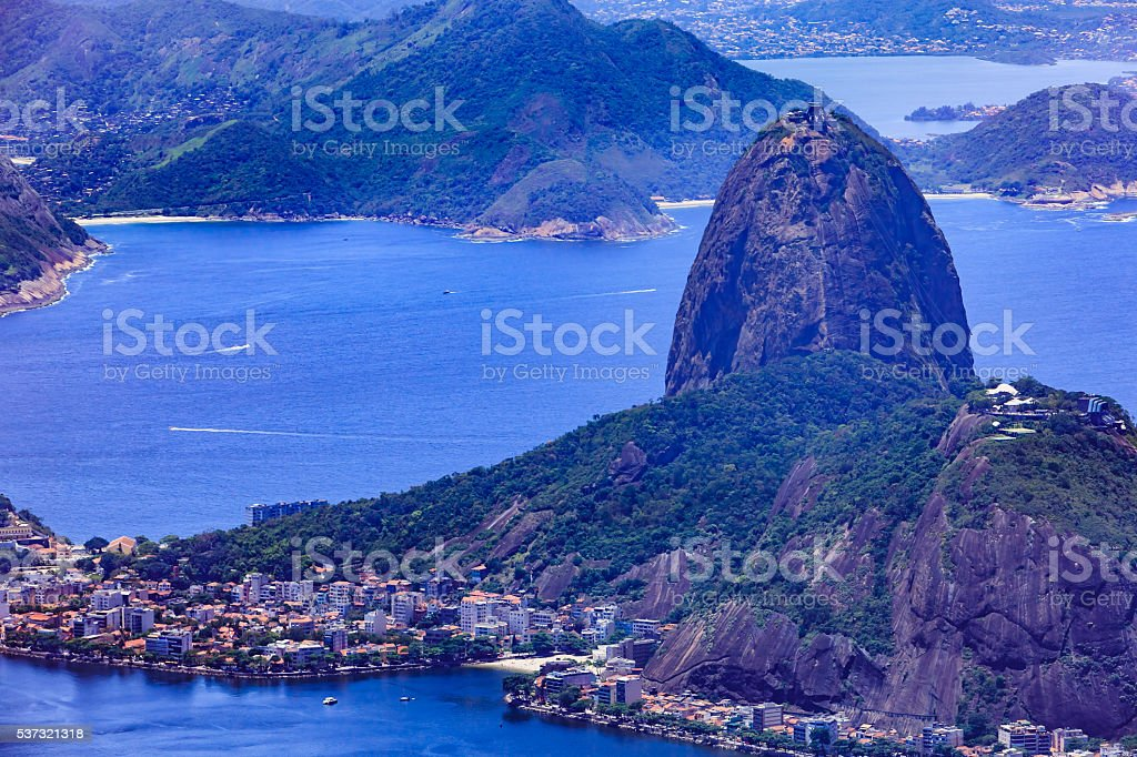 Rio de Janeiro, Brazil: Looking at Sugar Loaf from Corcovado stock photo