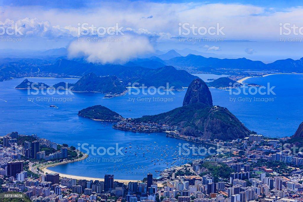 Rio de Janeiro, Brazil: Looking towards Sugar Loaf from Corcovado stock photo