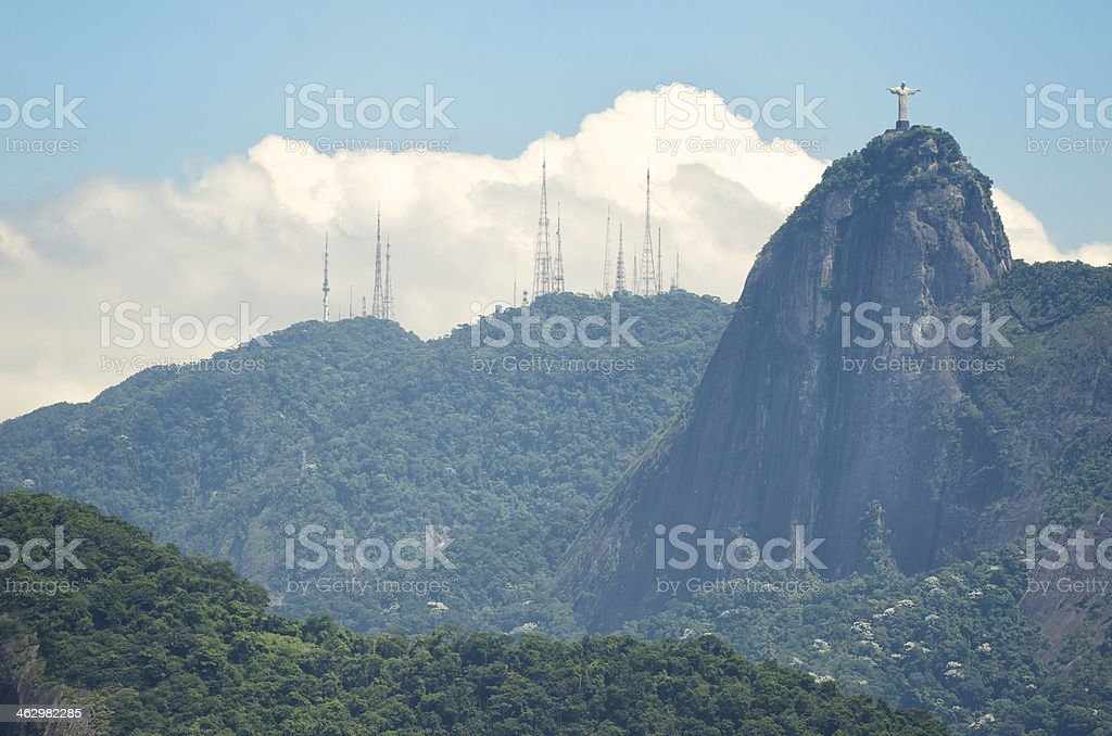 Rio de Janeiro Brazil Mountain Skyline with Corcovado royalty-free stock photo