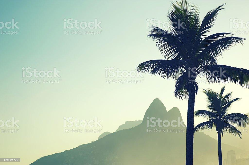 Rio de Janeiro Brazil Sunset Dois Irmaos Ipanema Beach Palms stock photo
