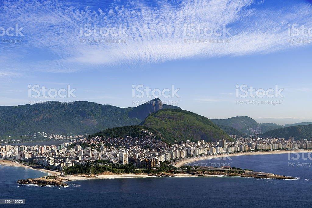 Rio de Janeiro city between the sea and mountains royalty-free stock photo