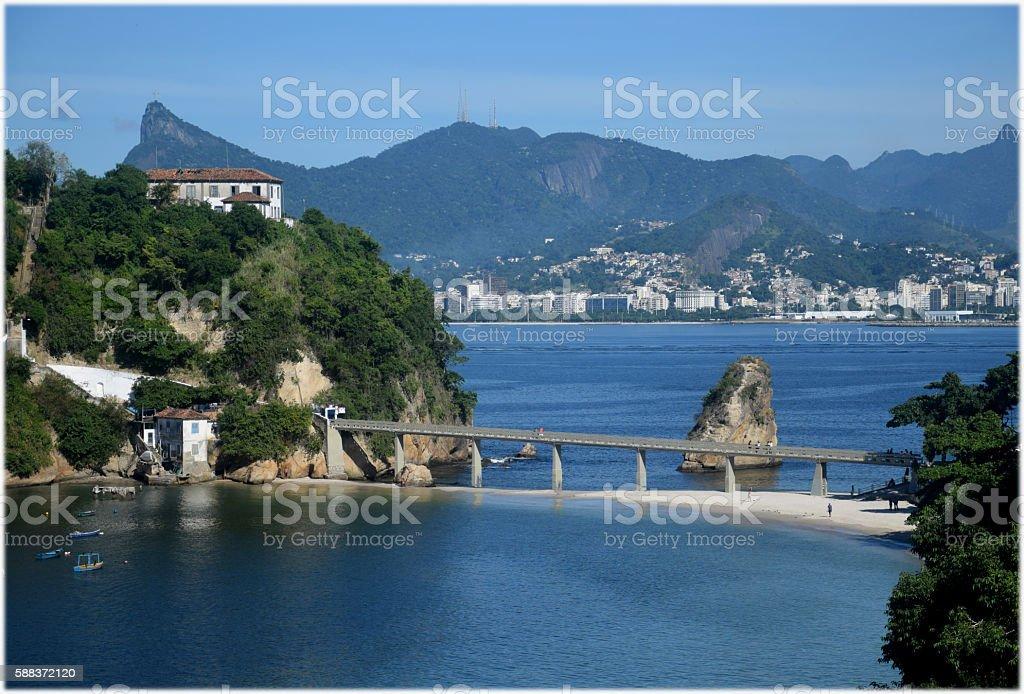 Rio de Janeiro city seen from Niteroi stock photo