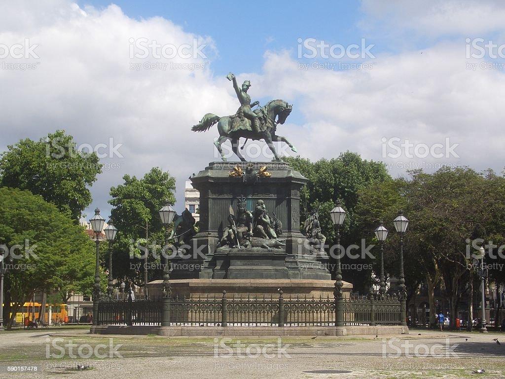 Rio de Janeiro Equestrian Statue of Dom Pedro I, Brazil stock photo