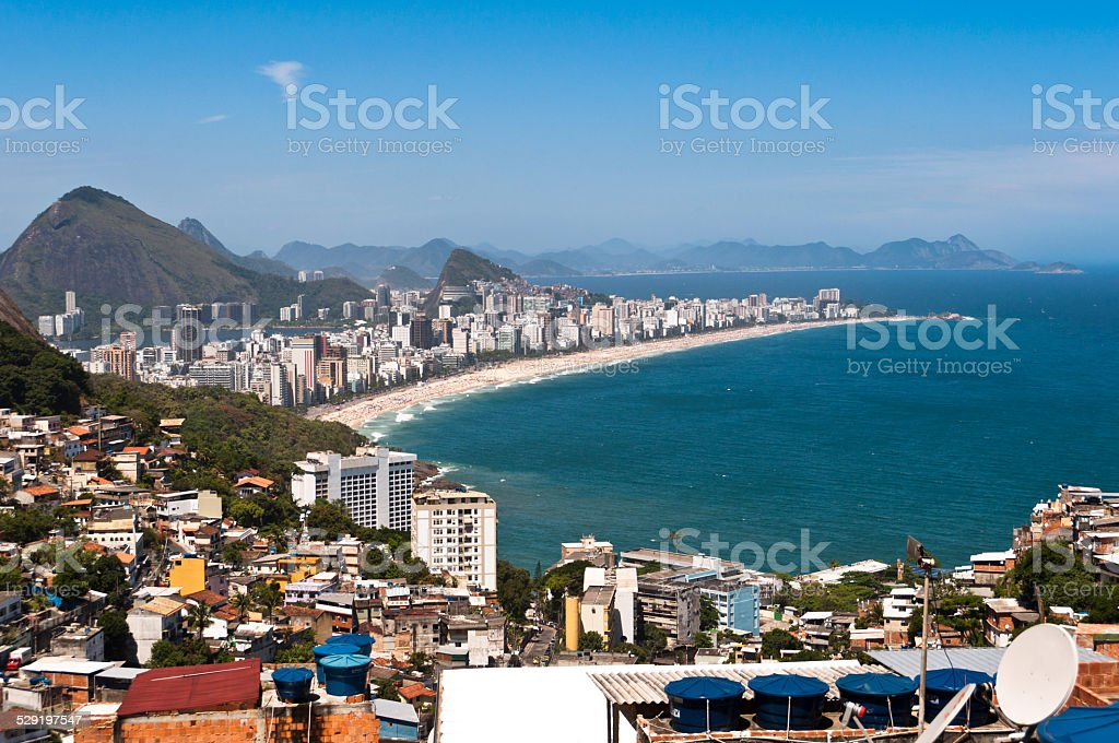 Rio de Janeiro Favela and Ipanema Beach View stock photo