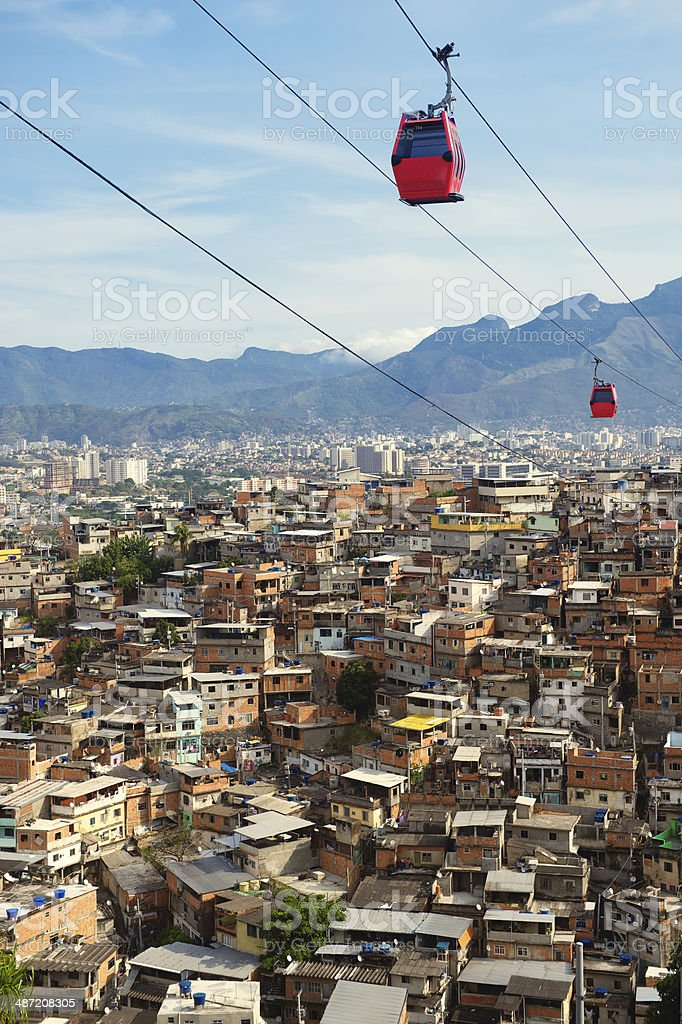 Rio de Janeiro Favela Slum with Red Cable Cars stock photo