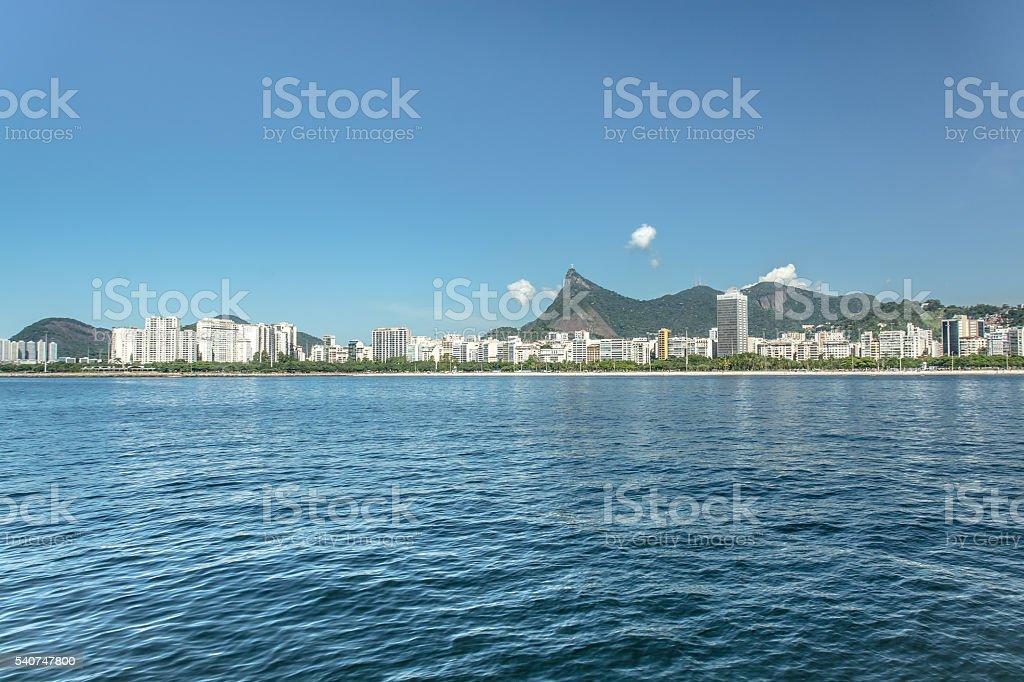 Rio de Janeiro - Flamengo beach view with Corcovado stock photo