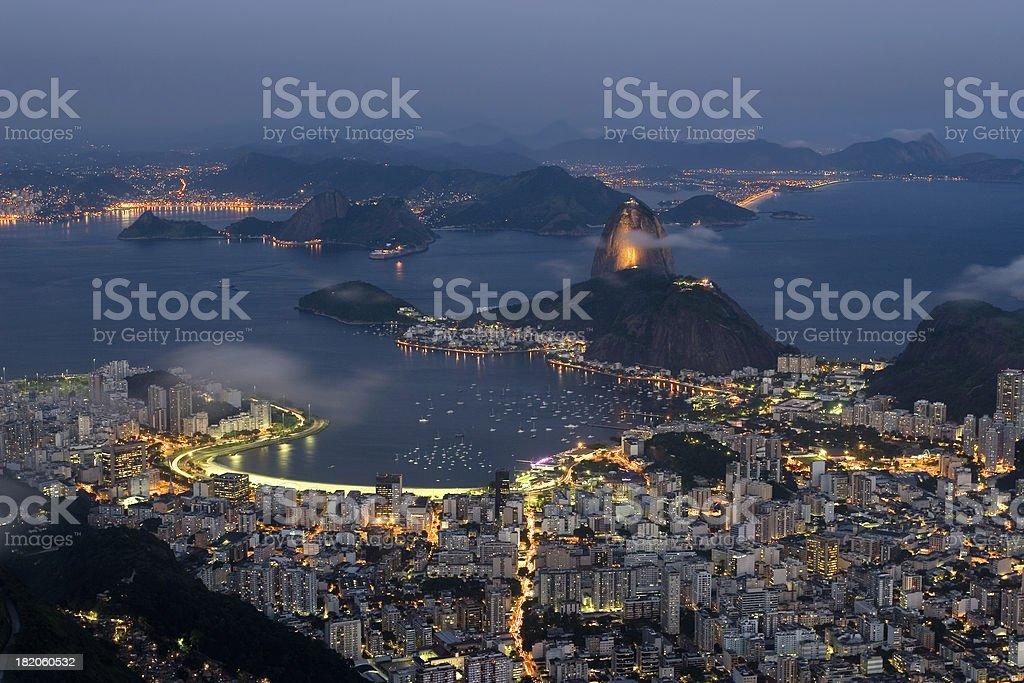 Rio de Janeiro Illuminated at Night stock photo