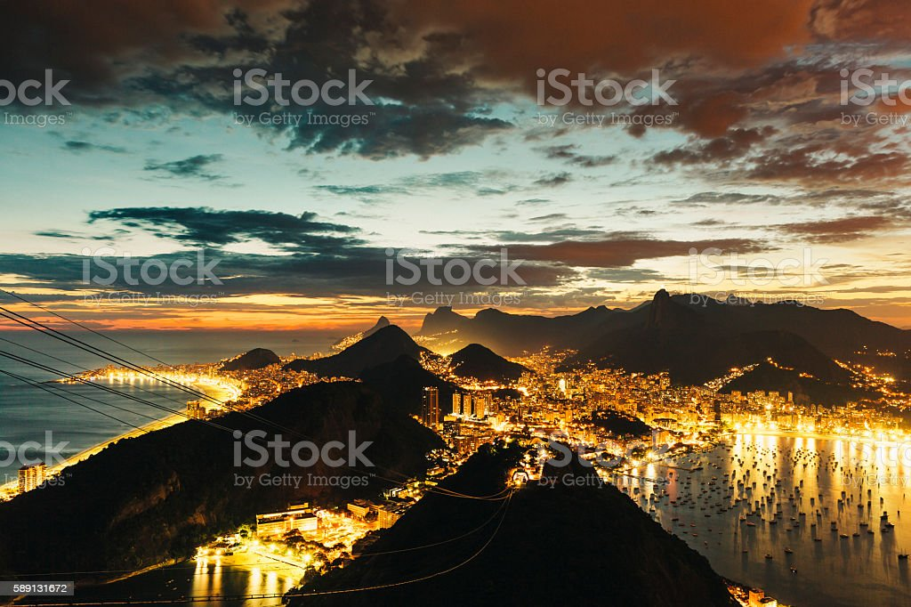 Rio de Janeiro illuminated at night stock photo