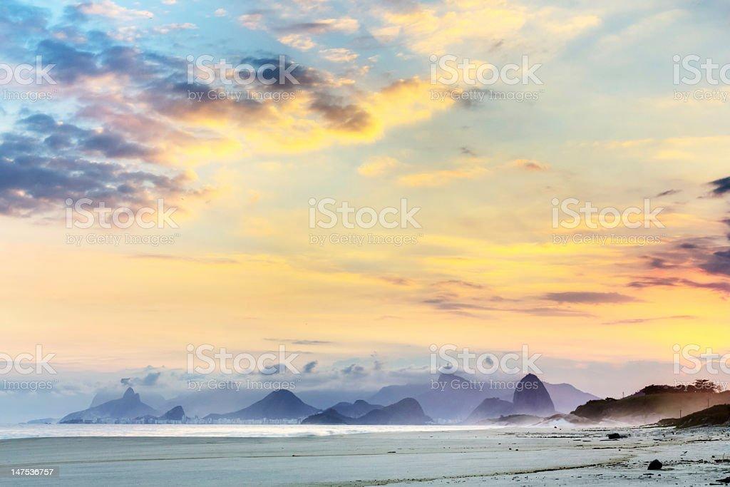 Rio de Janeiro landscape sunset royalty-free stock photo