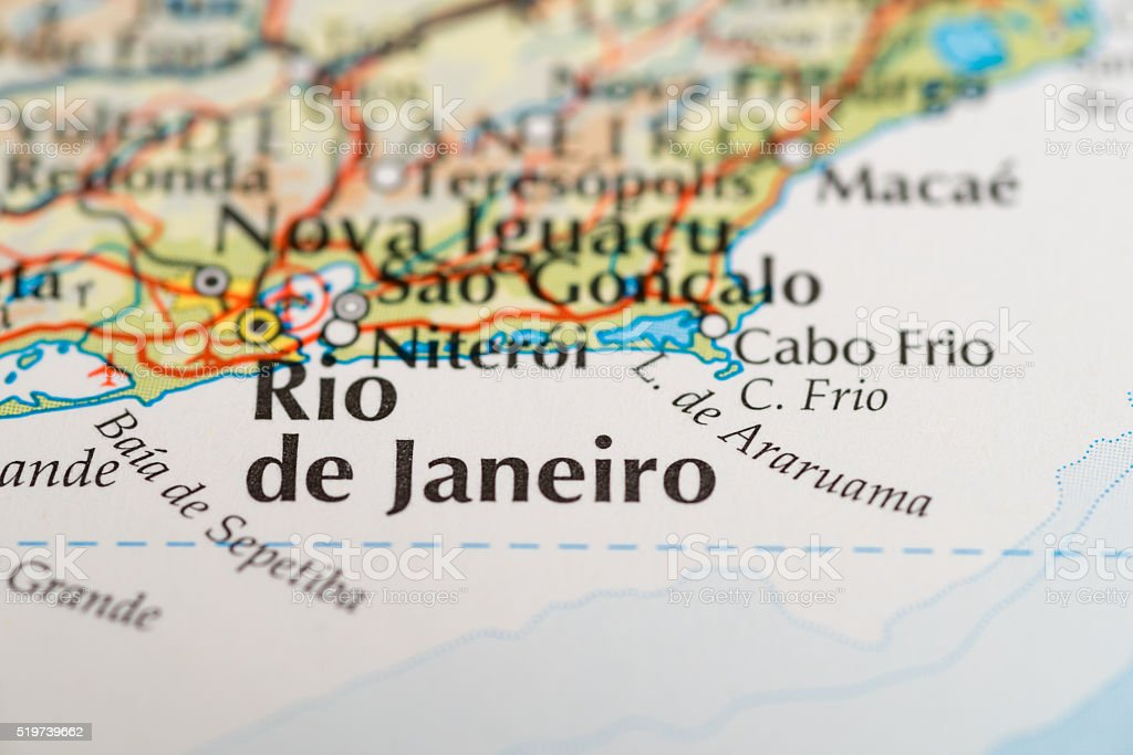 Rio de Janeiro map stock photo