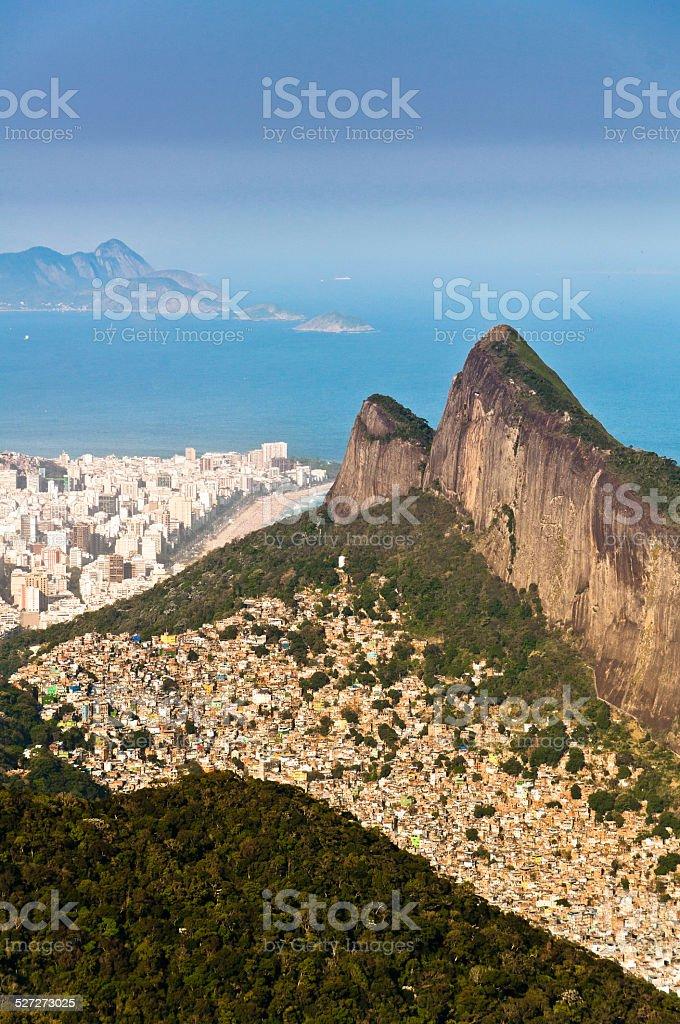 Rio de Janeiro Mountains, Urban Aereas, Ocean in the Horizon stock photo
