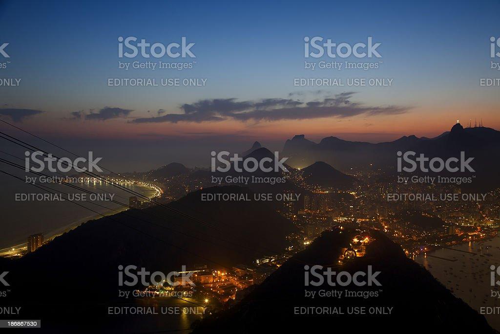 Rio de Janeiro night view stock photo