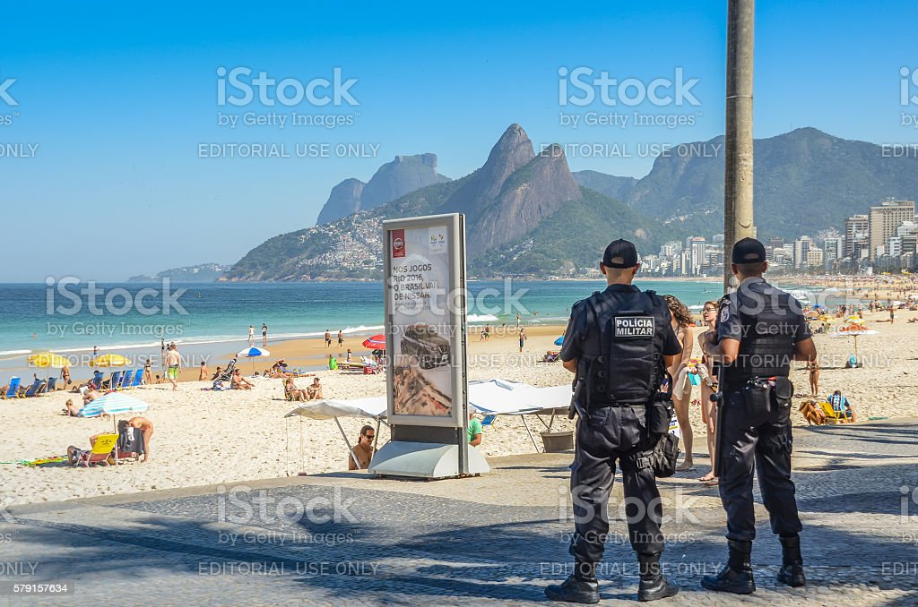 Rio de Janeiro police watch over tourists stock photo