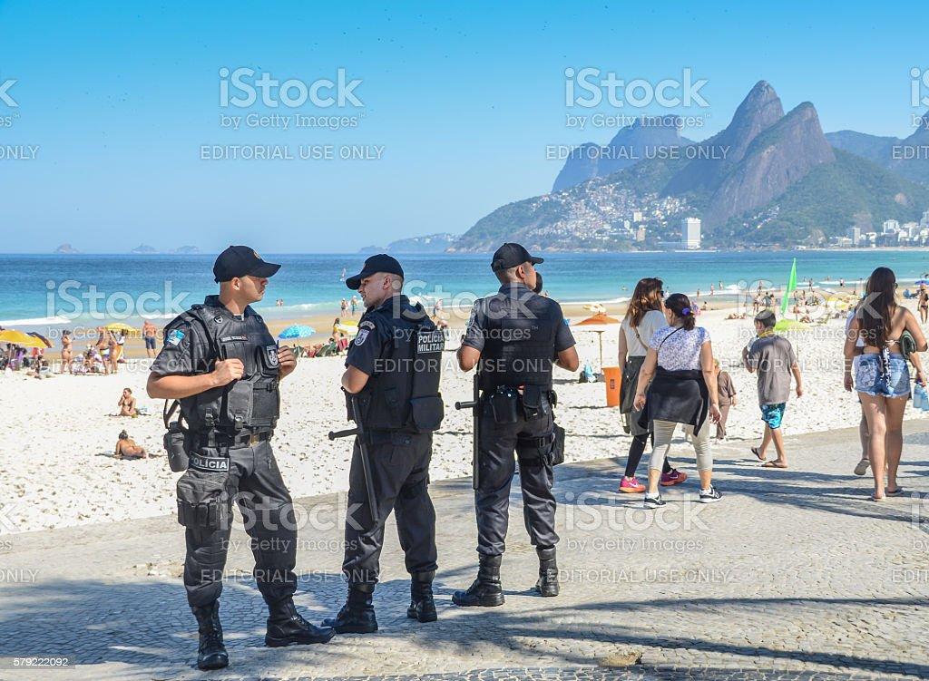 Rio de Janeiro police watch over tourists stock photo
