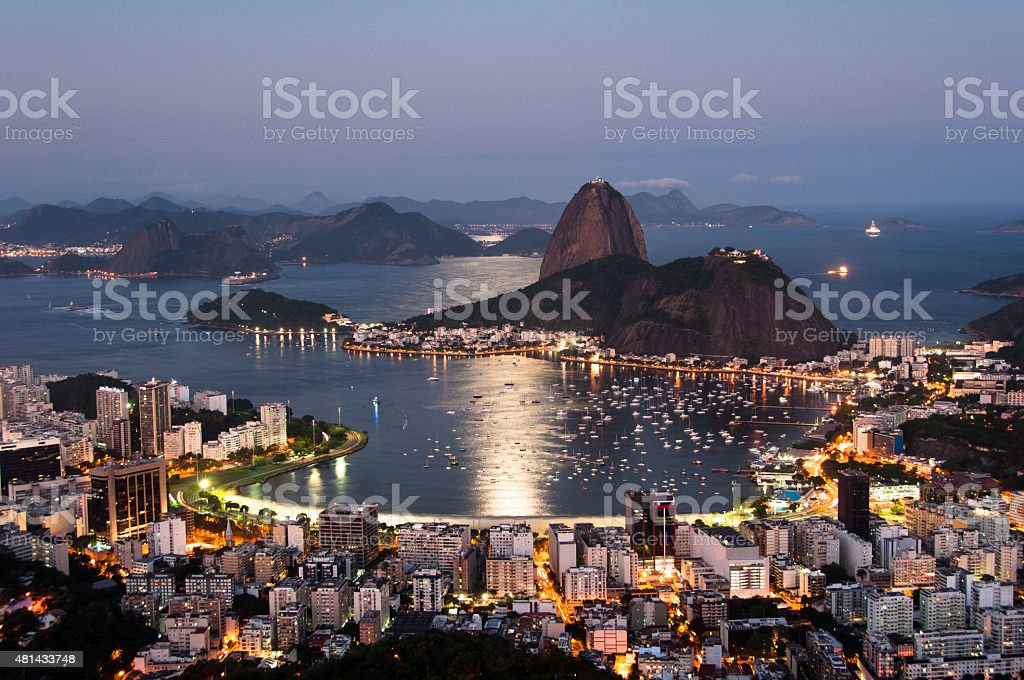Rio de Janeiro, Sugarloaf Mountain by Sunset stock photo