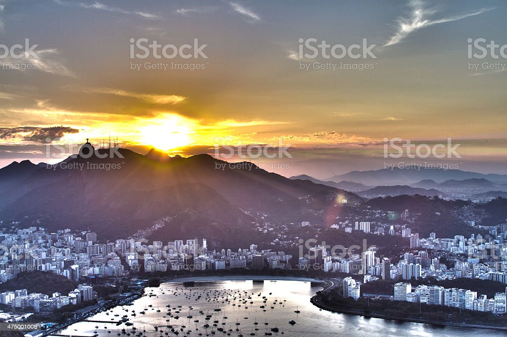 Rio de Janeiro sunset view from the sugarloaf montain stock photo