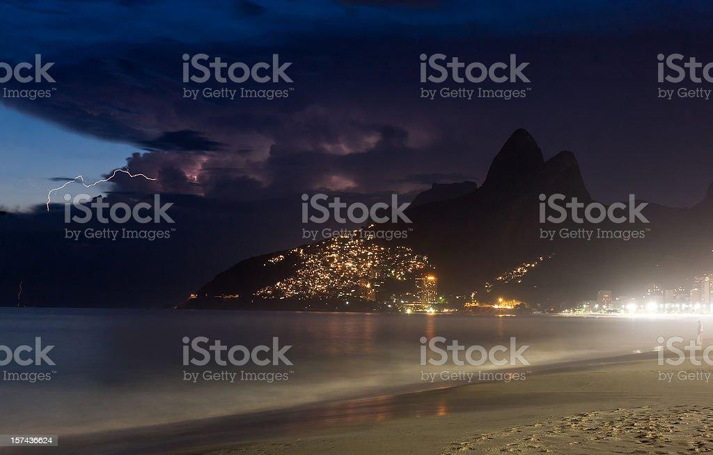 Rio de Janeiro under Thunderstorm. Ipanema Beach. stock photo
