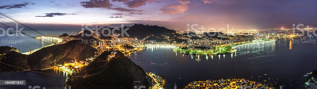 Rio de Janeiro's night view from Sugar Loaf stock photo