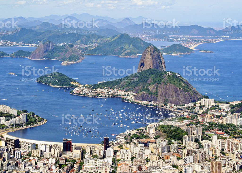 Rio de Janiero Brazil Sugarloaf Mountain aerial view from Corcovado stock photo