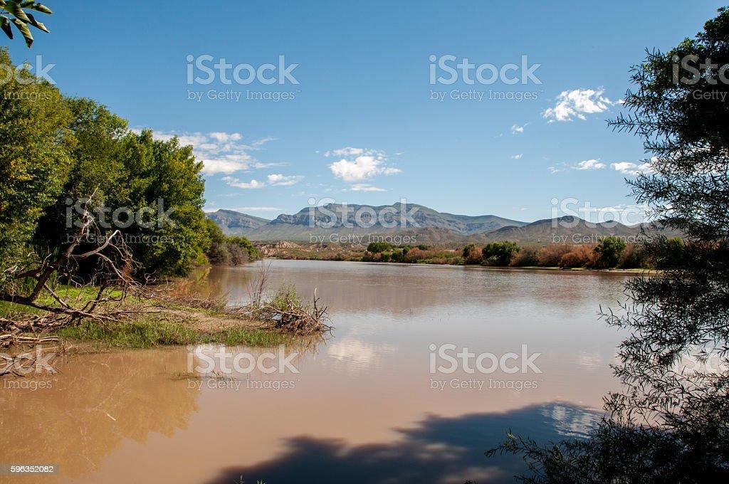 Rio Grande Above Percha Dam in New Mexico stock photo