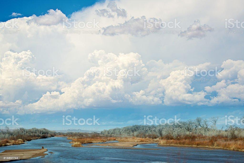 Rio Grande and Cottonwoods stock photo