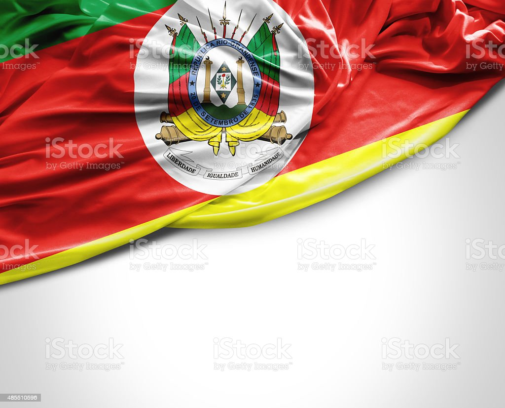 Rio Grande do Sul state waving flag on white background stock photo