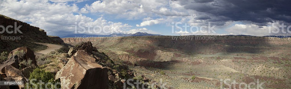 Rio Grande Valley and Taos Mountain panorama stock photo