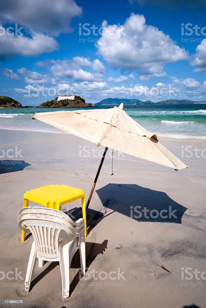rio landscape beach umbrella stock photo