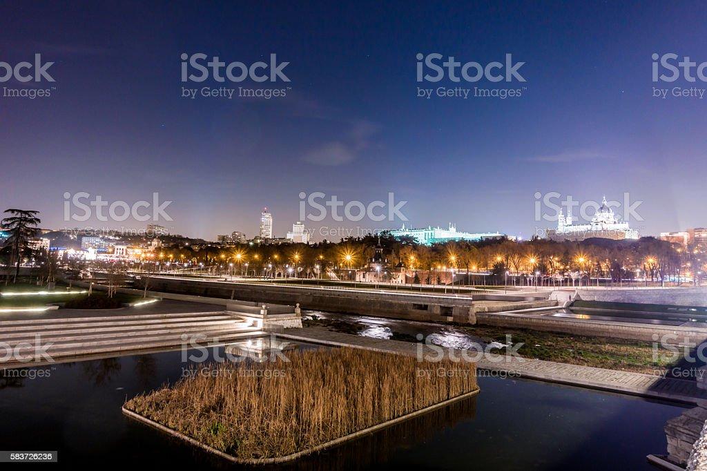 rio manzanares river madrid panoramic castillo real catedral almudena stock photo