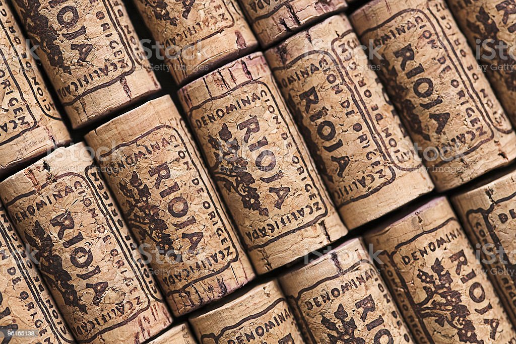 Rioja corks lined up in rows neatly and diagonally stock photo